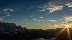 Alpine winter landscape sunset time lapse HD Stock Footage