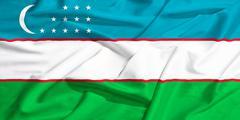 uzbekistan flag on a silk drape waving - stock illustration