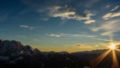 Sunset over Dolomite Alps landscape time lapse 4K Stock Footage