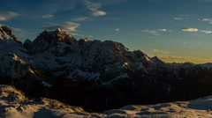 Cima Brenta mountain peak sunset in winter time lapse 4K Stock Footage