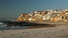 Sunset in Morocan fishing village Tifnit. Stock Footage