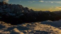 Winter last rays of sunshine below Cima Brenta wood cabin 4K Stock Footage