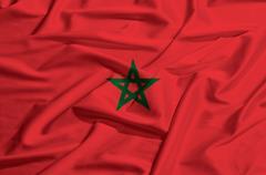 Morocco flag on a silk drape waving Stock Illustration