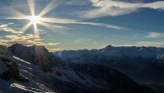 Cima Brenta snow slopes and valley, shadows winter time lapse HD Stock Footage