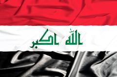 iraq flag on a silk drape waving - stock illustration