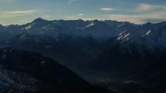 Madonna di Campiglio village sunrays winter time lapse Stock Footage