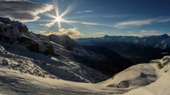 Cima Brenta snow slopes and cliffs, shadows winter time lapse Stock Footage