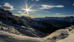 Cima Brenta snow slopes and valley, shadows winter time lapse 4K Stock Footage