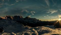 Sun going down over Brenta Dolomites winter time lapse 4K Stock Footage