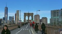 Brooklyn Bridge Walkway with Freedom Tower Time Lapse.mp4 Stock Footage