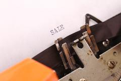 the vintage typewriter some word macro style - stock photo