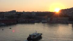 Naples Italy urban city harbor sunset sun flare fast 4K 081 Stock Footage