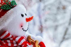 snowman on snow - stock photo