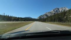 Driving on the TransCanada highway in the Rockies. Alberta. Stock Footage