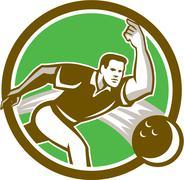 Bowler throwing bowling ball circle retro Stock Illustration