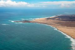 aerial view of boavista coast cape verde - cabo verde - stock photo