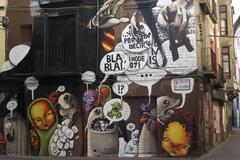 zaragoza  (spain), mural painting - stock photo