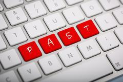 """The word """"past"""" written on metallic keyboard. Stock Illustration"""