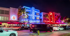 Stunning 4K time lapse of the Colony Hotel on Ocean Drive in Miami, Florida Stock Footage