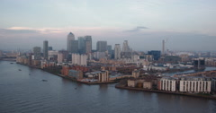 4K video of Canary Wharf, O2 area and River Thames on the Isle of Dogs, London Stock Footage