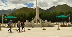 4k The peaceful liberation of tibet,potala square in lhasa. Stock Footage