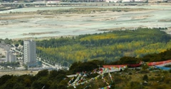 4k Aerial view of linzhi,Tibet's second largest city,prayer flag & mountain. Stock Footage