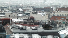 Rooftops 007 foggy in winter covered with snow in vienna Stock Footage
