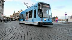Electric tram in Dresden, Germany, Stock Footage