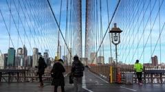 Tourists on Brooklyn Bridge Walkway Time Lapse.mp4 Stock Footage