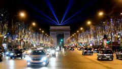 Arc de Triumphe (Arch of Triumph) on Avenue des Champs-Elysees in Paris, France. - stock footage