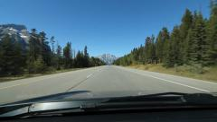 Towards the Mountain. Highway between Banff and Canmore.  Alberta, Canada. Stock Footage