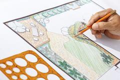 Landscape architect design l shape garden plan Stock Photos