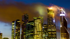 New City center night view, on December 27th, 2014 in Moscow,   is situated on Stock Footage