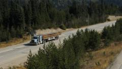 Coquihalla Hwy. Midway between Hope and Merritt, BC, Canada. Truck passing. Stock Footage