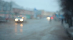 wet slippery road and sleet drops on the windshield 002 - stock footage