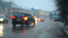 wet slippery road and sleet drops on the windshield - stock footage