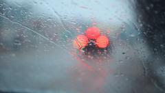 sleet and rain drops on the windshield ,bokeh 002 - stock footage