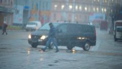 traffic and pedestrians on sleet wet road 002 - stock footage