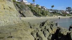 Pan of beach cove Stock Footage
