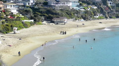 Sandy cove from cliff Stock Footage