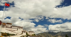 4k china national flag in potala square,white clouds in blue sky,tibet. Stock Footage