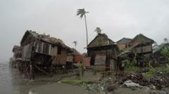 Hurricane Wind Rain Batters Slum Houses Stock Footage
