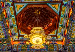 Lamp in chinese temple at wat leng -noei-yi 2 - stock photo