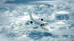 Luxury corporate air travel. Lear jet in 4K. Stock Footage