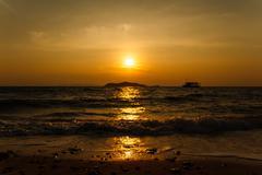 sunset at the beach on koh larn pattaya.thailand - stock photo