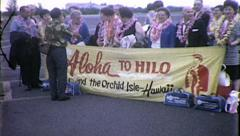 HILO Airport Group Hawaii Tourist Vacation Beach Vintage Film Home Movie 8154 Stock Footage