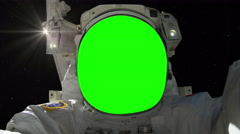 0199 Astronaut Spacewalk with Green Screen and Sun, 4K Stock Footage