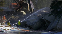 Train derailment wreck cleanup Stock Footage
