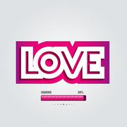 Vector paper curved convex inscription love - stock illustration