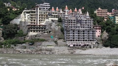 Ganges river in Rishikesh ( the world capital of Yoga )  India. Stock Footage